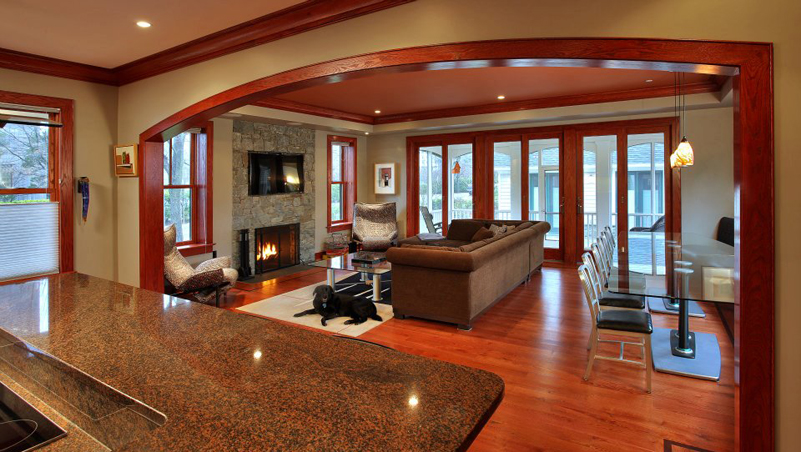 Living room and dining room of a custom built home in Chevy Chase Maryland