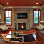Fireplace in luxury custom built Chevy Chase home, Maryland